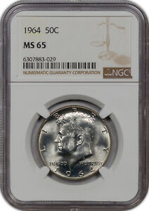 1964 KENNEDY HALF DOLLAR SILVER NGC MS 65 GORGEOUS LUSTER HIGH GRADE CHOICE