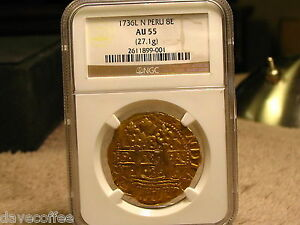 Click now to see the BUY IT NOW Price! 1736L GOLD 8 ESCUDOS VERY  NGC CERTIFIED AU55
