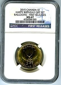 Click now to see the BUY IT NOW Price! 2015 CANADA $1 HAPPY BIRTHDAY BALLOONS NGC MS67 FIRST RELEASES LOON LOONIE POP 3
