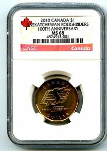 Click now to see the BUY IT NOW Price! 2010 CANADA $1 SASKATCHEWAN ROUGHRIDERS NGC MS68 DOLLAR LOON LOONIE TOP POP 1