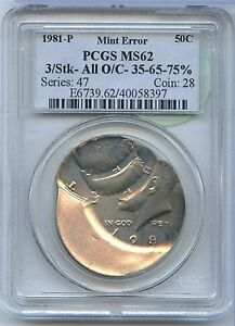 Click now to see the BUY IT NOW Price! 1981 P KENNEDY HALF DOLLAR MINT ERROR STRUCK 3 TIMES PCGS MS 62 CERTIFIED MM957