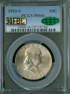 Click now to see the BUY IT NOW Price! 1953 S FRANKLIN HALF DOLLAR PCGS MAC CAC MS 66 90FBL 2ND FINEST
