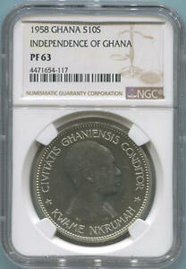 Click now to see the BUY IT NOW Price! 1958 GHANA SILVER 10 SHILLING. NGC PF63
