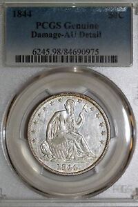 ONE 1844 P PCGS GRADED AU DETAILS SEATED LIBERTY HALF DOLLAR  STOCK : 84690975