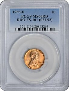 Click now to see the BUY IT NOW Price! 1955 D LINCOLN CENT MS66RD PCGS CHERRYPICKER FS 101 DOUBLE DIE OBVERSE 66 RED
