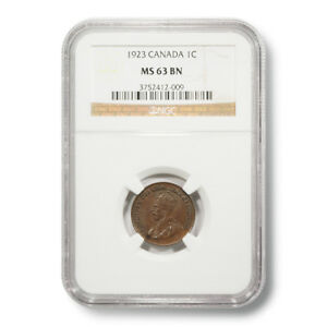 Click now to see the BUY IT NOW Price! 1923 CANADA GEORGE V 1 MS 63 BN NGC ENCAPSULATED COPPER COIN