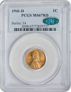 Click now to see the BUY IT NOW Price! 1941 D LINCOLN CENT MS67RD PCGS CAC MINT STATE 67 RED