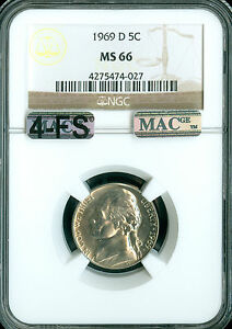 Click now to see the BUY IT NOW Price! 1969 D JEFFERSON NICKEL NGC MAC MS66 4FS PQ SOLO FINEST REGISTRY EXTREMLEY