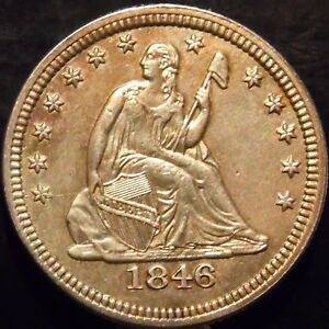 1846 P SEATED QUARTER BU BEAUTIFUL BUT CLEANED