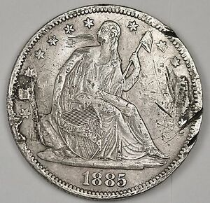 1885 SEATED LIBERTY HALF.  X.F. DETAIL.  99226