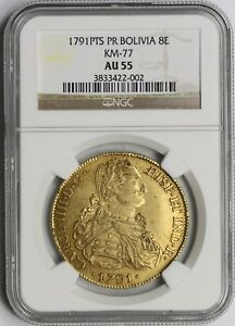Click now to see the BUY IT NOW Price! 1791PTS PR BOLIVIA KM 77 GOLD 8 ESCUDOS 8E AU 55 NGC TP  14 POP  6/5