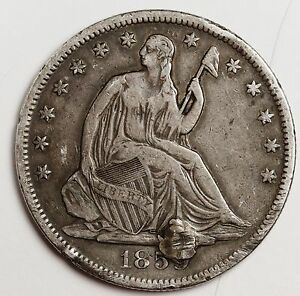 1859 S SEATED LIBERTY HALF.  X.F. DETAIL.  HOLED.  109939