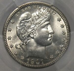 Click now to see the BUY IT NOW Price! 1901 S BARBER QUARTER 25C PCGS MS63 CERTIFIED   SAN FRANCISCO MINT   JX847