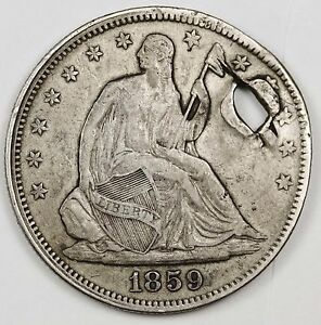 1859 SEATED LIBERTY HALF. PROBABLY A SQUARE NAIL HOLE. X.F. DETAIL  HOLED 115901
