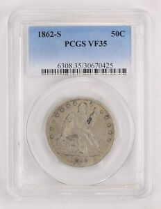 VF35 1862 S SEATED LIBERTY HALF DOLLAR   PCGS GRADED  2149