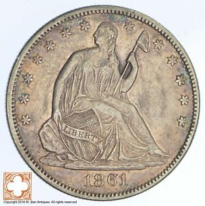 1861 SEATED LIBERTY SILVER HALF DOLLAR  XB75