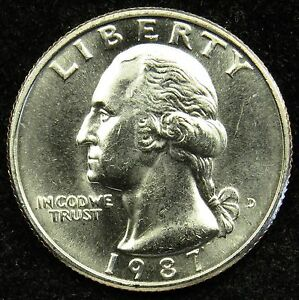 1987 D UNCIRCULATED WASHINGTON QUARTER BU  B01