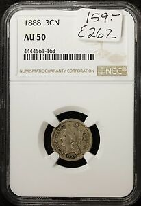 1888 3 CENT NICKEL.  IN NGC HOLDER A.U. 50.   E262