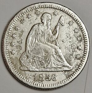 1856 S LIBERTY SEATED QUARTER.  X.F. DETAIL.  110095
