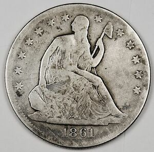 1861 SEATED LIBERTY HALF.  CIVIL WAR ERA.  G. V.G.  99878