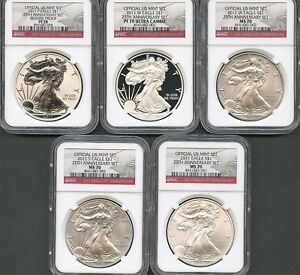 2011 AMERICAN SILVER EAGLE 25TH ANNIVERSARY 5PC SET NGC PF70 MS70