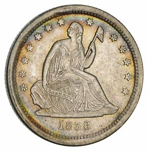 1838 SEATED LIBERTY QUARTER  NOT CIRCULATED  2961