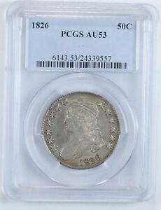AU53 1826 CAPPED BUST HALF DOLLAR   PCGS GRADED  0956