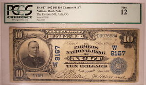 1902 US $10 NATIONAL BANKNOTE DATE BACK AULT COLORADO CENSUS: 4L PCGS 12