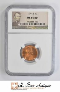MS66 RD 1944 S CENT LINCOLN WHEAT   GRADED NGC  4545