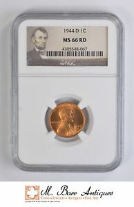 MS66 RD 1944 D CENT LINCOLN WHEAT   GRADED NGC  4740