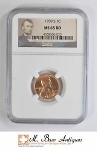 MS65 RD 1939 S CENT LINCOLN WHEAT   GRADED NGC  4793