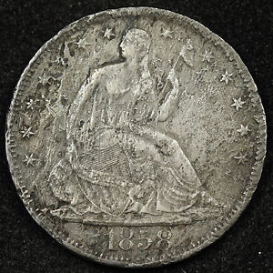 1858 S SEATED LIBERTY HALF.  X.F. DETAIL.  NEEDS EXPERT CLEANING.  89820