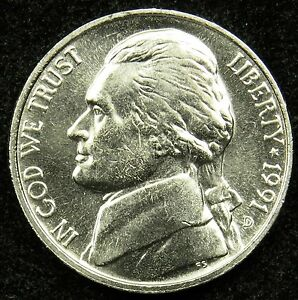 1991 D UNCIRCULATED JEFFERSON NICKEL BU  B03