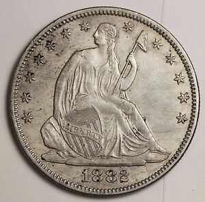 1882 SEATED LIBERTY HALF.  NATURAL UNC.  BUSINESS STRIKE NOT A PROOF.  115455