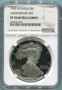Click now to see the BUY IT NOW Price! 1995 W PROOF SILVER EAGLE. ANNIVERSARY SET. NGC PF70 ULTRA CAMEO