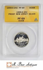 PF69 DCAM 1999 S NEW JERSEY STATE QUARTER   SILVER PROOF   GRADED ANACS  4205