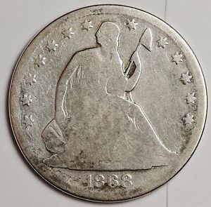 1868 S SEATED LIBERTY HALF.  GOOD.  109990