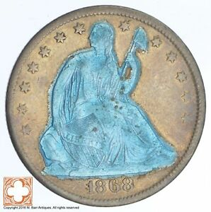 1868 S SEATED LIBERTY SILVER HALF DOLLAR  CONDITION: GRAFFITI  XB29