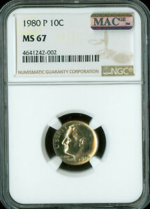1980 P ROOSEVELT DIME NGC MAC MS67 PQ 2ND FINEST  SPOTLESS