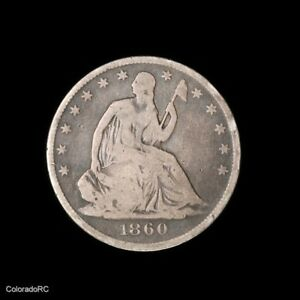 1860 O U.S. MINT 50C SEATED LIBERTY SILVER HALF DOLLAR IN VG CONDITION
