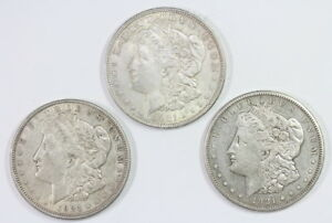 1921 AND 1921 D AND 1921 S MORGAN SILVER DOLLARS  5525