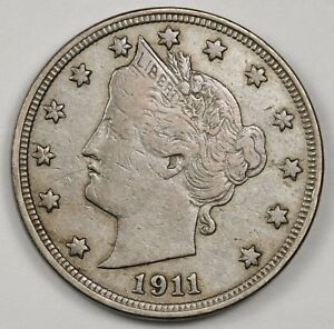 1911 LIBERTY NICKEL.  ABOUT X.F.  118346