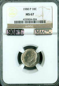 1980 P ROOSEVELT DIME NGC MAC MS67 90FT PQ 2ND FINEST SPOTLESS