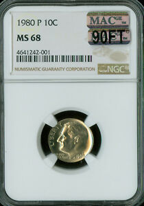 1980 P ROOSEVELT DIME NGC MAC MS68 90FT PQ SOLO FINEST SPOTLESS