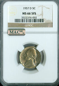 1957 D JEFFERSON NICKEL NGC MAC MS66 FS FINEST REGISTRY SPOTLESS