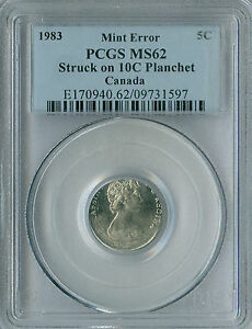 Click now to see the BUY IT NOW Price! 1983 CANADA 5 CENTS STRUCK ON 10 CENT PLANCHET PCGS MS 62  ERROR