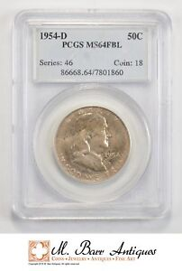 MS64 FBL 1954 D FRANKLIN HALF DOLLAR   GRADED PCGS  586