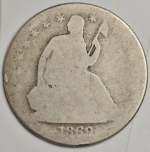 1869 S SEATED LIBERTY HALF.  CIRCULATED.  112917