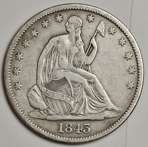 1843 O SEATED LIBERTY HALF.  V.F. X.F.  116071