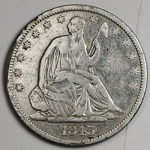 1843 O SEATED LIBERTY HALF.  FINE.  105375